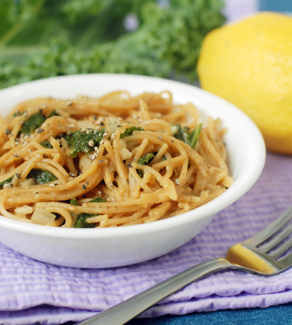 Lemony Garlic Kale One Pot Pasta by Alison's Allspice
