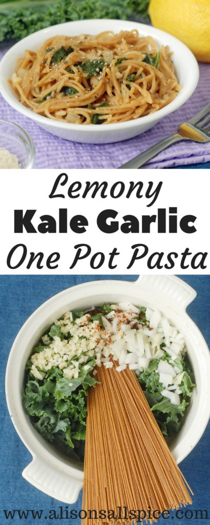 This lemony garlic kale one pot pasta is the best ever weeknight meal! It only takes 20 minutes, and only dirties one dish!