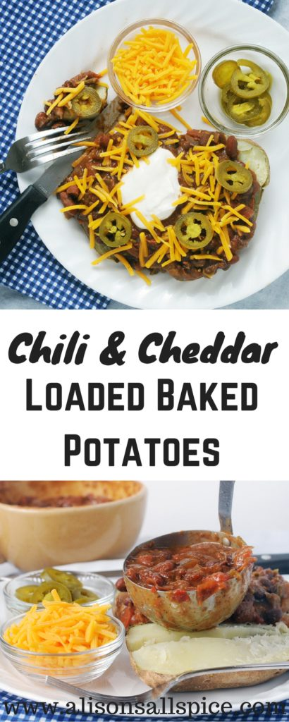 These chili & cheddar loaded baked potatoes are a total comfort food classic for me. Using leftover chili, they come together in only 15 minutes!
