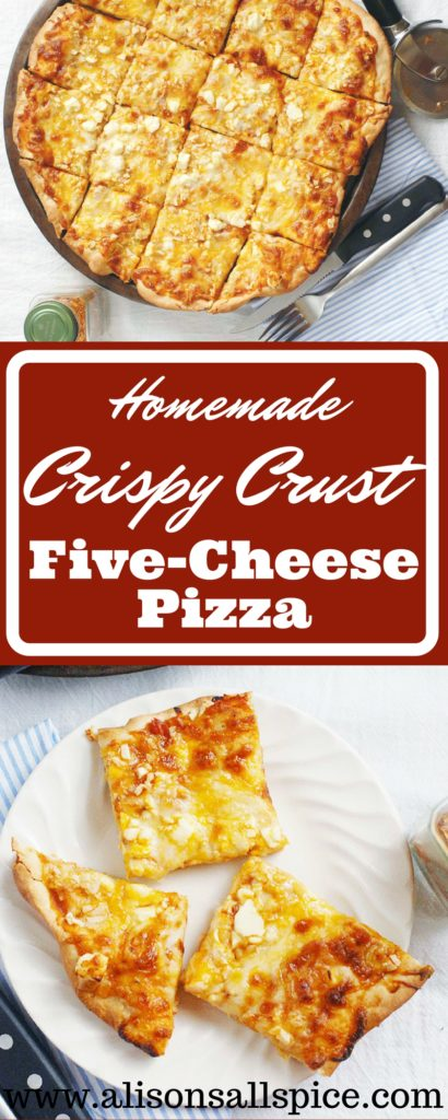 My homemade crispy crust five cheese pizza has a seriously crunchy crust. I loaded it with mozzarella, cheddar, feta, blue cheese, and Parmesan. Best. Ever.