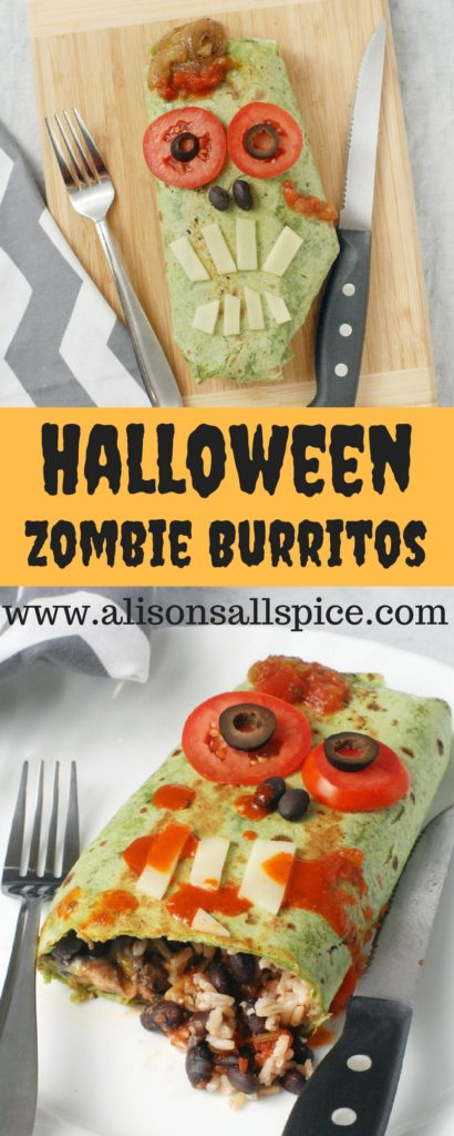 These Halloween zombie burritos are a spook-tacular dinner recipe that is fun for kids and adults alike! Customize the burrito filling, and the zombie face!