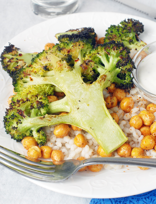 Roasted Broccoli Steaks and Chickpeas with yogurt sauce by Alison's Allspice