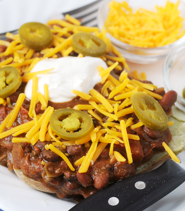 Chili & Cheddar Loaded Baked Potatoes by Alison's Allspice