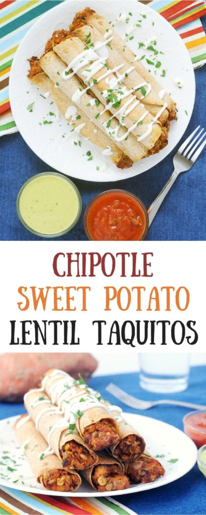 I love serving these chipotle sweet potato lentil taquitos with lots of dipping options.  They are a fun finger food that is hearty enough for dinner!