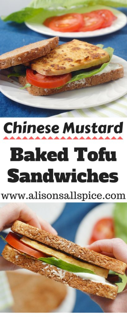 My Chinese mustard baked tofu sandwiches recipe is perfect to prep your lunches for the entire week! Cut tofu into 5 slices, brush with Chinese mustard, and bake for five delicious sandwiches!