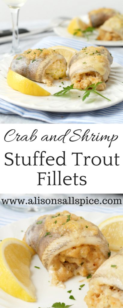 Crab and shrimp stuffed trout fillets are rich and indulgent.  Simply roll trout fillets with a creamy seafood filling and bake!