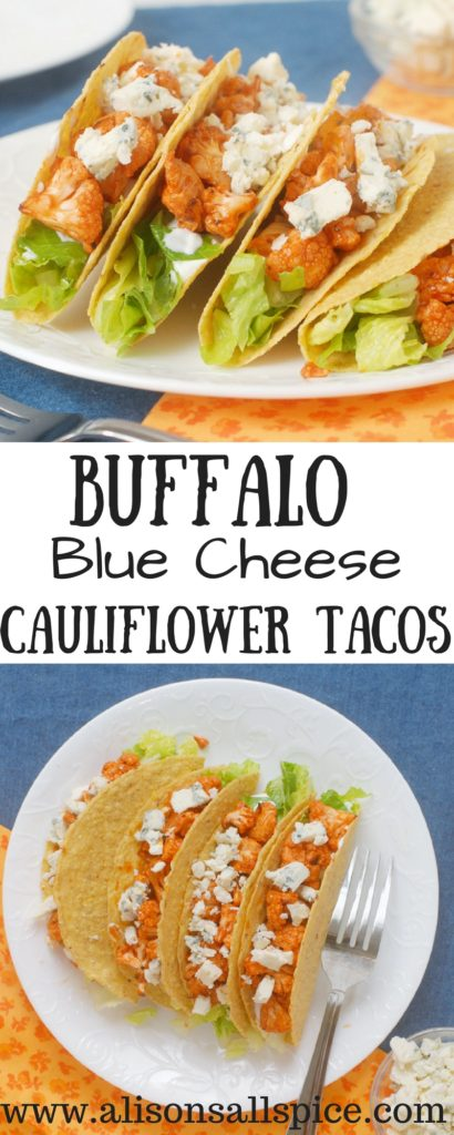 Looking for an easy and delicious way to eat more veggies?  Try these buffalo blue cheese cauliflower tacos!  Simple to make, and loaded with vegetables.  Switch it up by trying them with BBQ sauce as well!