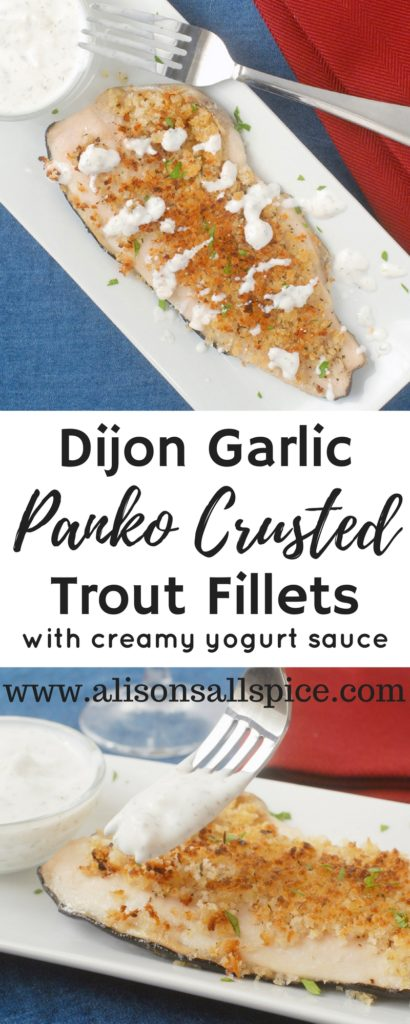 Dijon garlic panko crusted trout is just the recipe to get you excited about fish again! The fish bake in the oven, then you top them with super flavorful dijon and garlic panko crumbs. The panko browns under the broiler and gets insanely crispy!