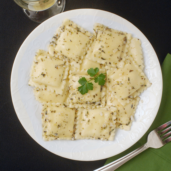 Ravioli with Garlic Herb White Wine Sauce by Alison's Allspice