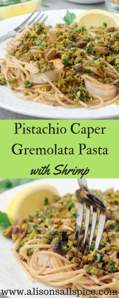 #ad My pistachio caper gremolata pasta with shrimp recipe is an easy, simple meal for two. Pick up a bag of Wonderful Pistachios for your next date night. You will impress your date with a homemade meal that is delicious and good for you!